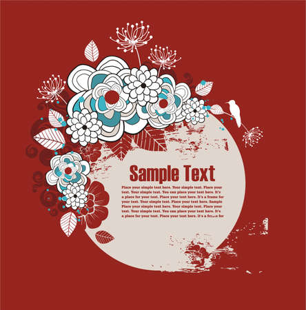 frame for text with floral ornament and grunge elements Illustration