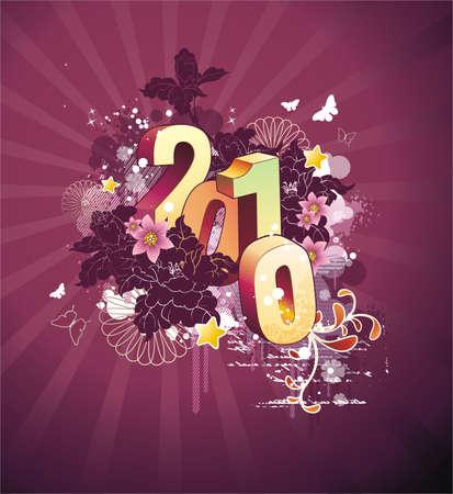 New years postcard 2010  Illustration