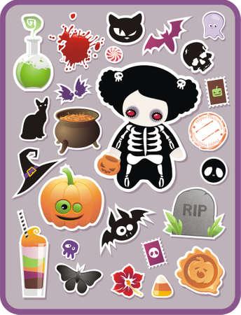 set of childish cartoon Halloween stickers