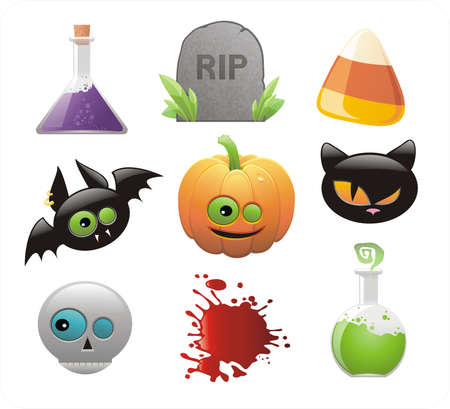 set of glossy Halloween icons  Vector