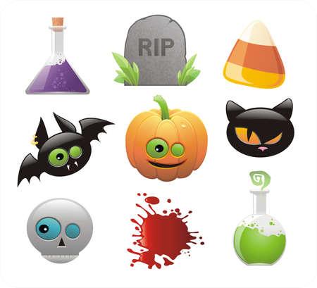jackolantern: set of glossy Halloween icons