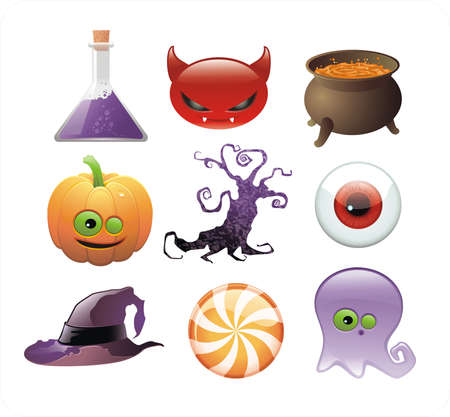 phantom: set of Halloween glossy icons