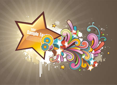 Modern colored background with shooting glossy star and floral elements
