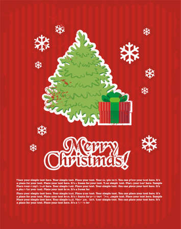 Christmas and New Years minimal simple postcard with decorative elements and space for your text.  Illustration