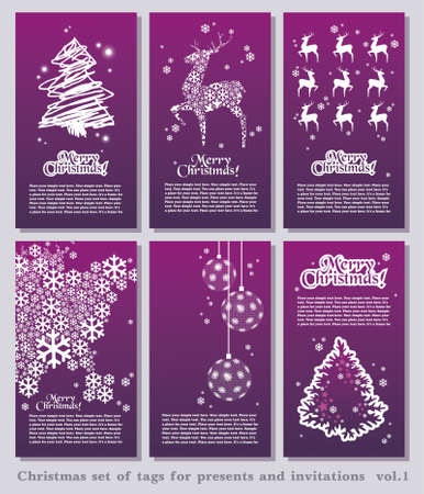 Set of Christmas minimal simple tags with decorative Christmas elements and space for your text.  Vector