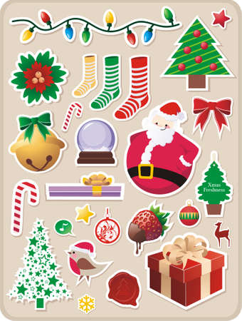 collection of cute Christmas stickers for your design Vector