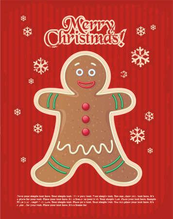 holiday cookies: de Navidad de rayas rojas y simple postal de A�o Nuevo m�nimo con el hombre de pan de jengibre y el espacio para el texto.
