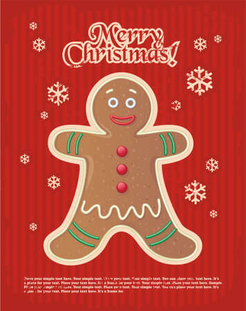 red striped Christmas and New Years minimal simple postcard with gingerbread man and space for your text.