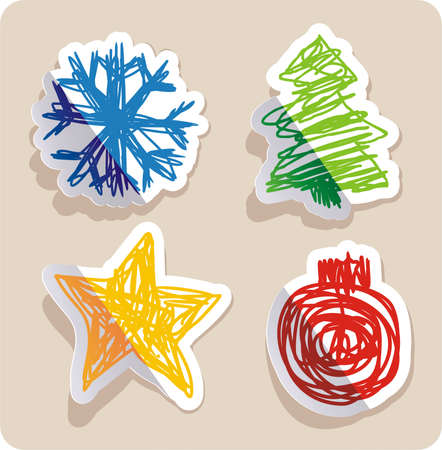 set of four main Christmas symbols drawn in childish style.  Vector