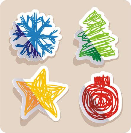 set of four main Christmas symbols drawn in childish style.  Illustration