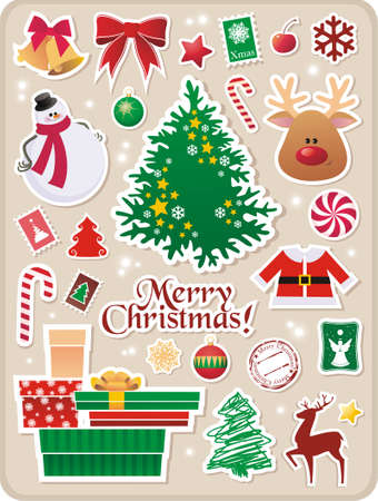 collection of cute Christmas stickers for your design  Stock Vector - 5920516