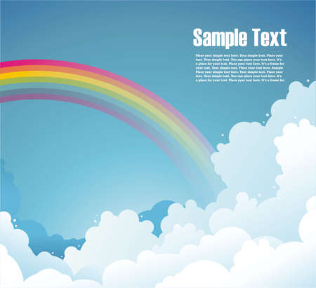 Blue Sky background with clouds and rainbow and free space for your text  Vector