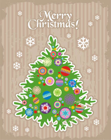 christmastree: Christmas and New Years minimal simple postcard with decorative christmas tree Illustration