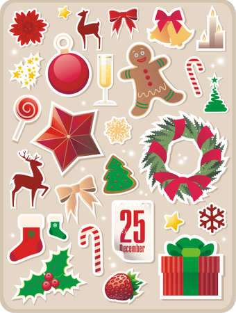 collection of cute Christmas stickers for your design Illustration