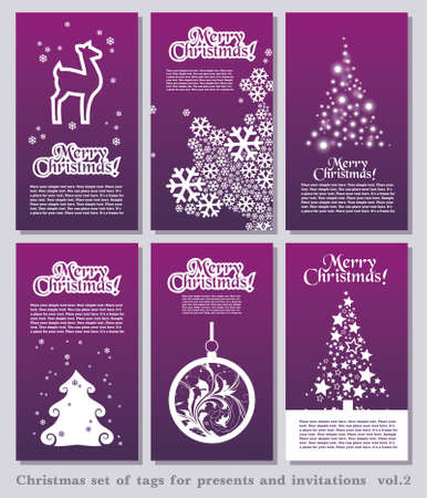 thumbnail: Set of Christmas minimal simple tags with decorative Christmas elements and space for your text.