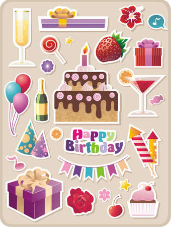 shopping champagne: collection of cartoon birthday stickers