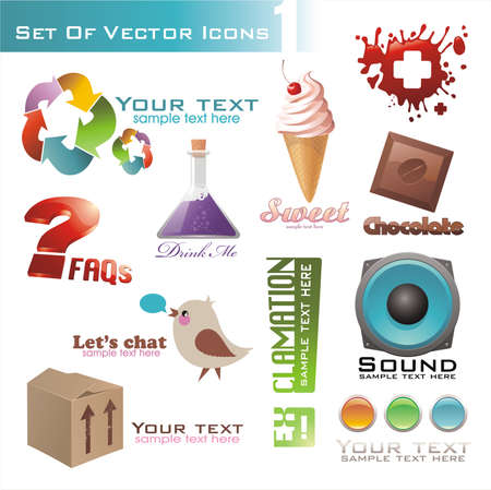 set of different 3d and 2d icons for design. Illustration