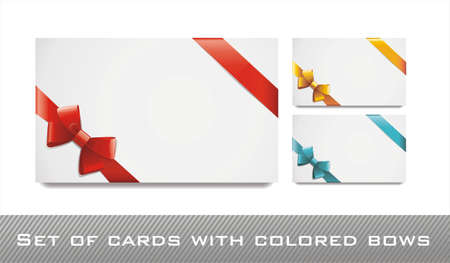 sat of blank white cards with colored bows and ribbons Vector
