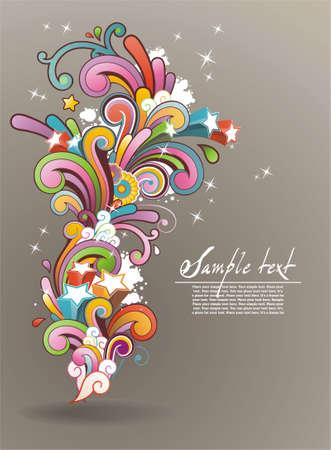 Moderno sfondo colorato contemporanea astratta floreale ornamento e lo spazio per il testo