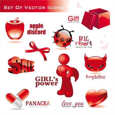 Collection of red glossy icons Vector