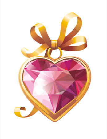 Gold heart shaped pendant with red ruby and golden bow. Use it as icon or decoration for your Valentines design   Illustration