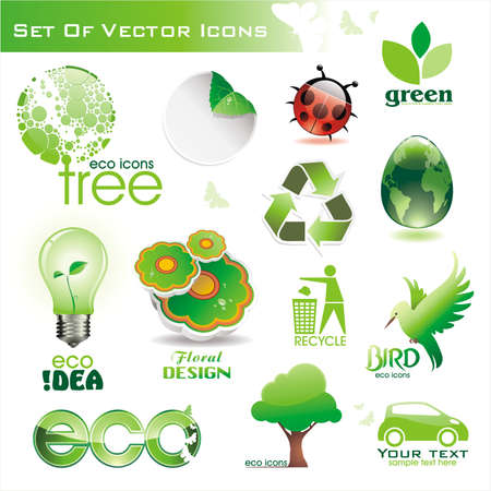 Collection of green eco-icons Illustration