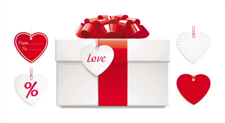 red gift box: gift box with red bow, ribbon and set of heart-shaped tags. just add your text to the tag or use any tag from set. its easy replaceable.