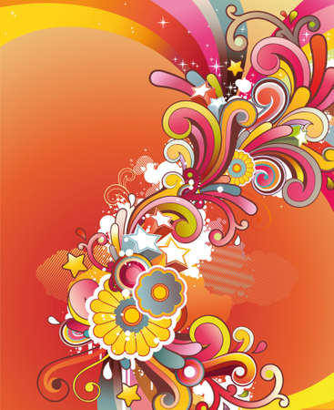cartoon spring: Modern background with colored contemporary abstract floral ornament and free space for your text