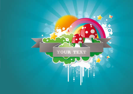 cute cartoon mushrooms with clouds, gold stars and rainbow against blue background.  Vector