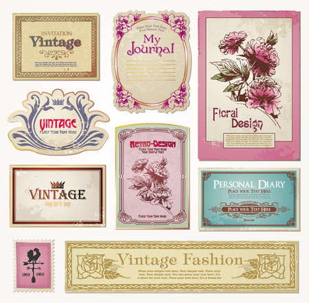 tradition art: set of  vintage tags Illustration