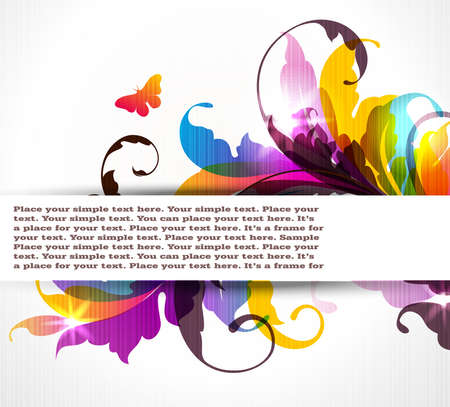 Modern colored background with floral ornament, banner for your text and butterflies. EPS10