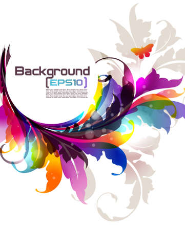 Background with colored floral ornament and banner for your text. EPS10