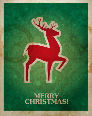 Christmas and New Years vintage-look postcard with silhouette of reindeer in traditional red and green colors. Ilustracja