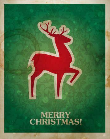 renos de navidad: Navidad y año nuevo look vintage postal con silueta de renos en los tradicionales colores rojos y verdes. Vectores