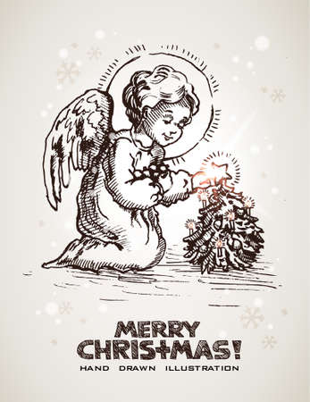 angel tree: Hand drawn Christmas and New Years postcard with cute little angel decorating miniature Christmas tree.