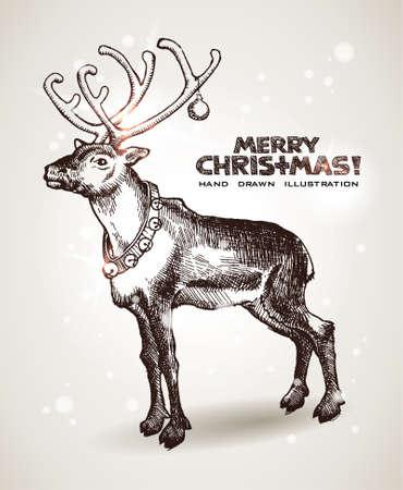 renna: cartolina orecchie con Babbo Natale Natale Vettoriali