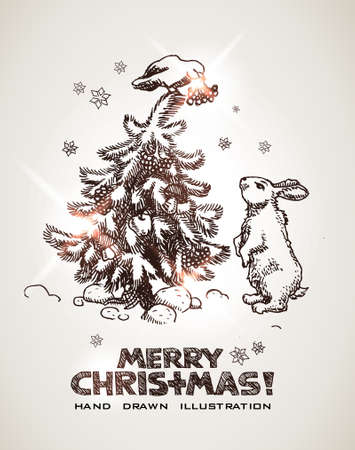 bunny xmas: hare and bird are decorating Christmas tree. Christmas and New Years hand drawn postcard.