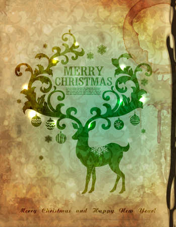 Christmas postcard with deer Stock Vector - 10850328