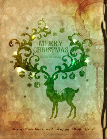 christmas postcard:  Christmas postcard with deer