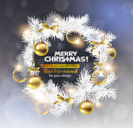 Christmas wreath with golden decoration Stock Vector - 11661504