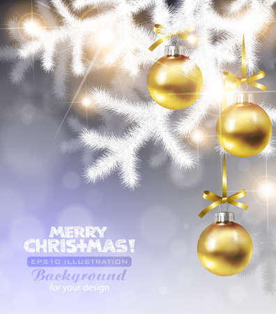 Christmas background with white christmas tree branches with golden decoration. EPS10 Stock Vector - 11661507