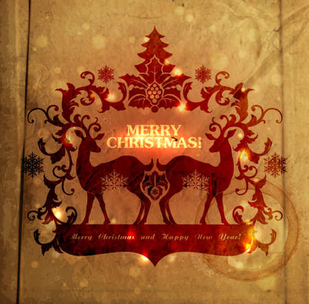 Christmas and New Years  postcard with silhouette of reindeers and frame for text EPS10 Illustration