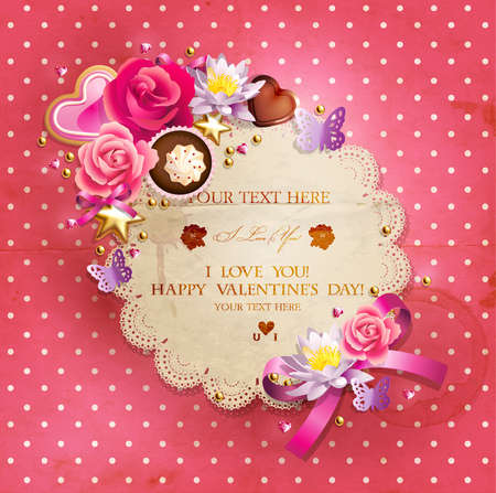 anniversario di matrimonio: Giorno di San Valentino cornice di pizzo s per il testo decorate con dolci, dolcetti, biscotti rose e perline dorate Vettoriali
