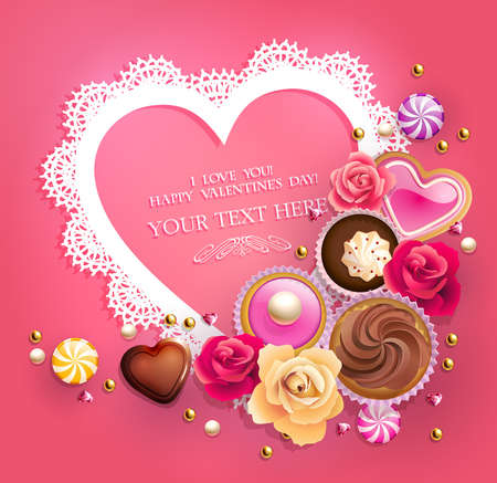 candy hearts: Valentine s Day lacy frame for your text decorated with sweets, cupcakes, cookies and golden beads