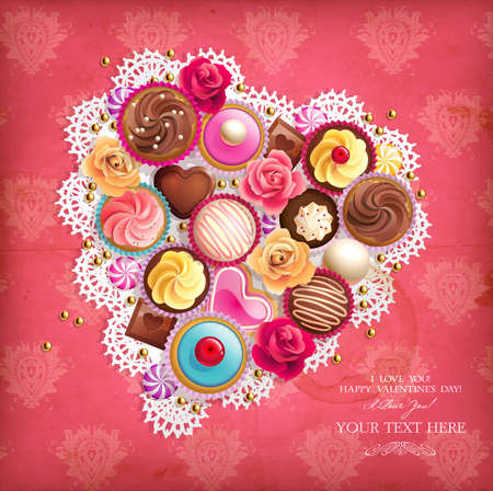 chocolate cupcakes: Valentines background with heart-shaped napkin and sweets   Illustration