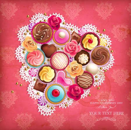 Valentines fondo con forma de coraz�n servilleta y dulces