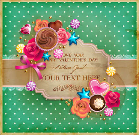 Valentine s Day vintage frame for your text decorated with sweets, cupcakes, cookies roses and golden beads   Vector
