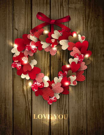 Valentine s wreath made of paper hearts in eco country style decorated with red bow and sparkles Stock Vector - 17512055