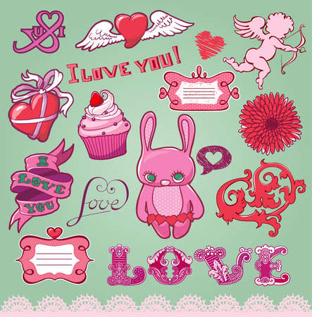Set of hand-drawn valentine s elements for design Vector