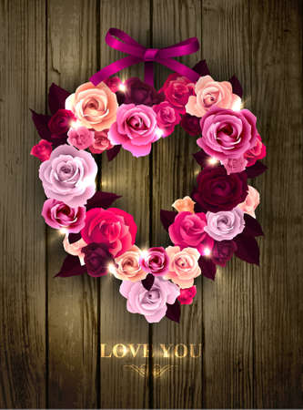 Valentine s wreath made of roses  decorated with bow and sparkles Stock Vector - 17512056